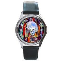 Abstract Tunnel Round Metal Watch