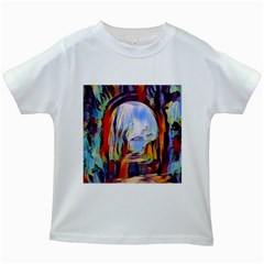 Abstract Tunnel Kids White T Shirts