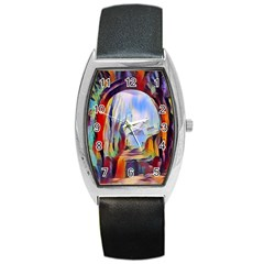 Abstract Tunnel Barrel Style Metal Watch