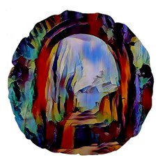 Abstract Tunnel Large 18  Premium Flano Round Cushions