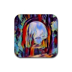 Abstract Tunnel Rubber Square Coaster (4 Pack)  by 8fugoso