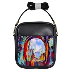 Abstract Tunnel Girls Sling Bags by 8fugoso