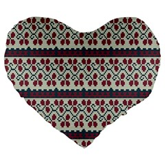 Winter Pattern 5 Large 19  Premium Heart Shape Cushions by tarastyle