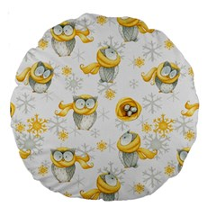 Winter Pattern 6 Large 18  Premium Round Cushions by tarastyle