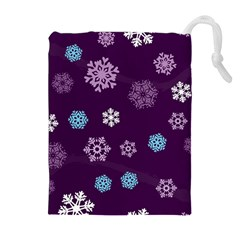 Winter Pattern 10 Drawstring Pouches (extra Large) by tarastyle