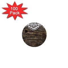 Shabbychicwoodwall 1  Mini Buttons (100 Pack)  by 8fugoso