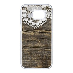 Shabbychicwoodwall Samsung Galaxy S7 Edge White Seamless Case by 8fugoso