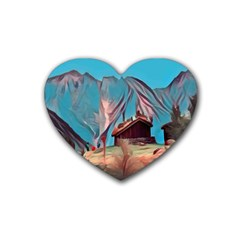 Modern Norway Painting Heart Coaster (4 Pack)  by 8fugoso