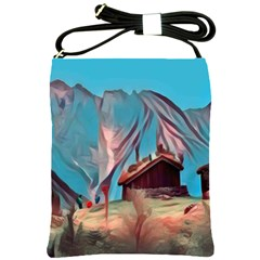 Modern Norway Painting Shoulder Sling Bags by 8fugoso