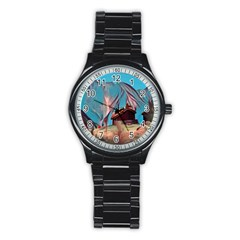 Modern Norway Painting Stainless Steel Round Watch by 8fugoso