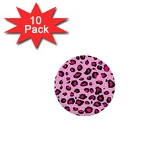 Pink Leopard 1  Mini Buttons (10 Pack)