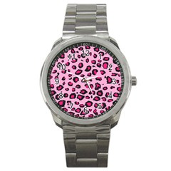 Pink Leopard Sport Metal Watch