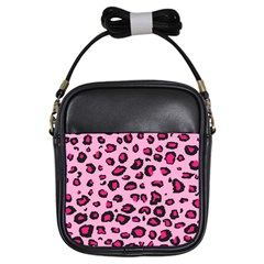 Pink Leopard Girls Sling Bags