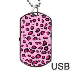 Pink Leopard Dog Tag Usb Flash (two Sides)