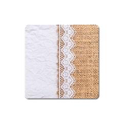 Parchement,lace And Burlap Square Magnet by 8fugoso