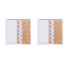 Parchement,lace And Burlap Cufflinks (square) by 8fugoso