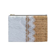 Parchement,lace And Burlap Cosmetic Bag (medium)  by 8fugoso