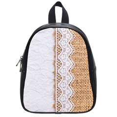 Parchement,lace And Burlap School Bag (small) by 8fugoso
