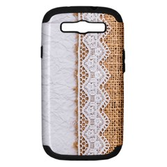 Parchement,lace And Burlap Samsung Galaxy S Iii Hardshell Case (pc+silicone)