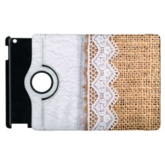 Parchement,lace And Burlap Apple Ipad 2 Flip 360 Case by 8fugoso