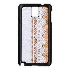 Parchement,lace And Burlap Samsung Galaxy Note 3 N9005 Case (black) by 8fugoso