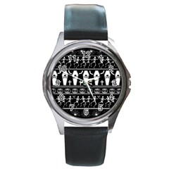 Halloween Pattern Round Metal Watch