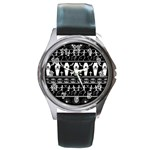 Halloween pattern Round Metal Watch Front