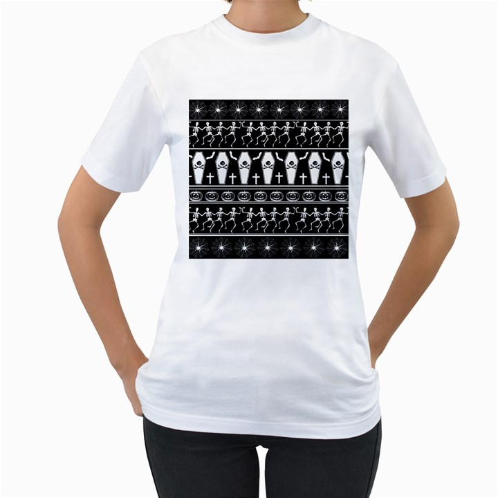 Halloween pattern Women s T-Shirt (White) (Two Sided)