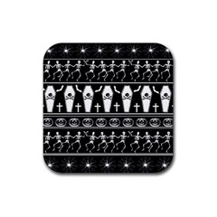 Halloween Pattern Rubber Square Coaster (4 Pack)  by ValentinaDesign