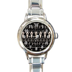 Halloween Pattern Round Italian Charm Watch