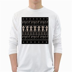 Halloween Pattern White Long Sleeve T Shirts