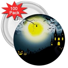 Halloween Landscape 3  Buttons (100 Pack)  by ValentinaDesign