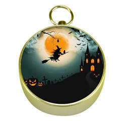 Halloween Landscape Gold Compasses by ValentinaDesign