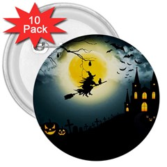 Halloween Landscape 3  Buttons (10 Pack)  by ValentinaDesign