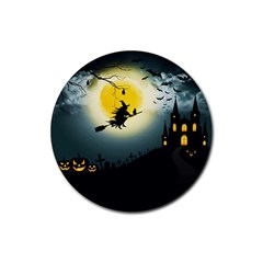 Halloween Landscape Rubber Round Coaster (4 Pack)  by ValentinaDesign