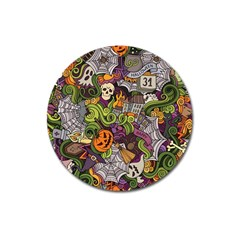 Halloween Pattern Magnet 3  (round) by ValentinaDesign