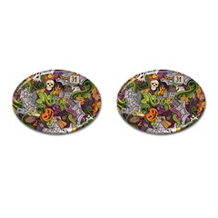 Halloween Pattern Cufflinks (oval) by ValentinaDesign
