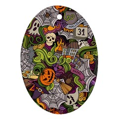 Halloween Pattern Oval Ornament (two Sides) by ValentinaDesign