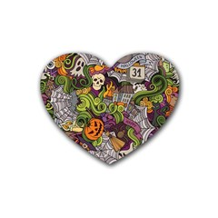 Halloween Pattern Rubber Coaster (heart)  by ValentinaDesign