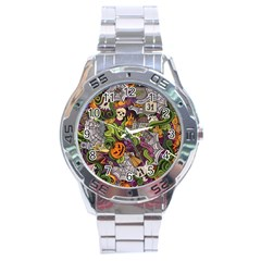 Halloween Pattern Stainless Steel Analogue Watch by ValentinaDesign