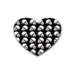 Halloween Skull Pattern Rubber Coaster (heart)  by ValentinaDesign
