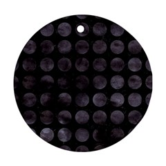 Circles1 Black Marble & Black Watercolor Round Ornament (two Sides) by trendistuff