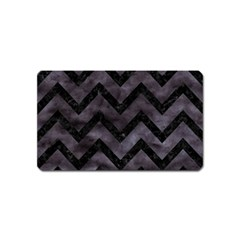 Chevron9 Black Marble & Black Watercolor (r) Magnet (name Card) by trendistuff