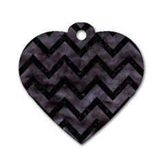 Chevron9 Black Marble & Black Watercolor (r) Dog Tag Heart (two Sides) by trendistuff