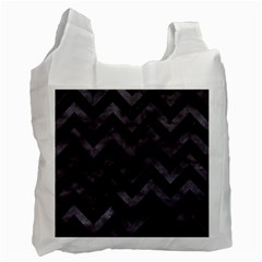 Chevron9 Black Marble & Black Watercolor Recycle Bag (one Side) by trendistuff