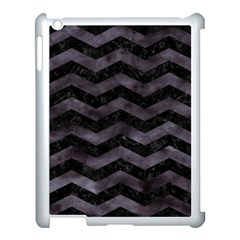 Chevron3 Black Marble & Black Watercolor Apple Ipad 3/4 Case (white) by trendistuff