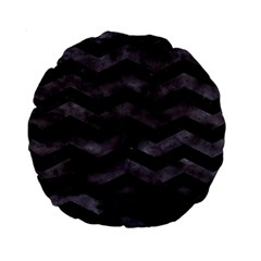 Chevron3 Black Marble & Black Watercolor Standard 15  Premium Round Cushions by trendistuff