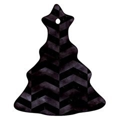 Chevron2 Black Marble & Black Watercolor Ornament (christmas Tree)