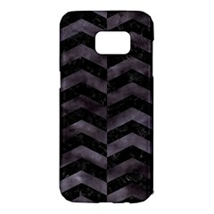 Chevron2 Black Marble & Black Watercolor Samsung Galaxy S7 Edge Hardshell Case by trendistuff