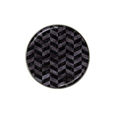 Chevron1 Black Marble & Black Watercolor Hat Clip Ball Marker by trendistuff